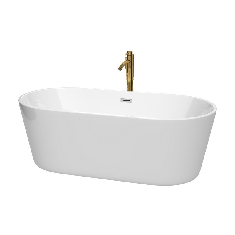 WYNDHAM COLLECTION WCOBT101267PCATPGD CARISSA 67 INCH FREESTANDING BATHTUB IN WHITE WITH POLISHED CHROME TRIM AND FLOOR MOUNTED FAUCET IN BRUSHED GOLD