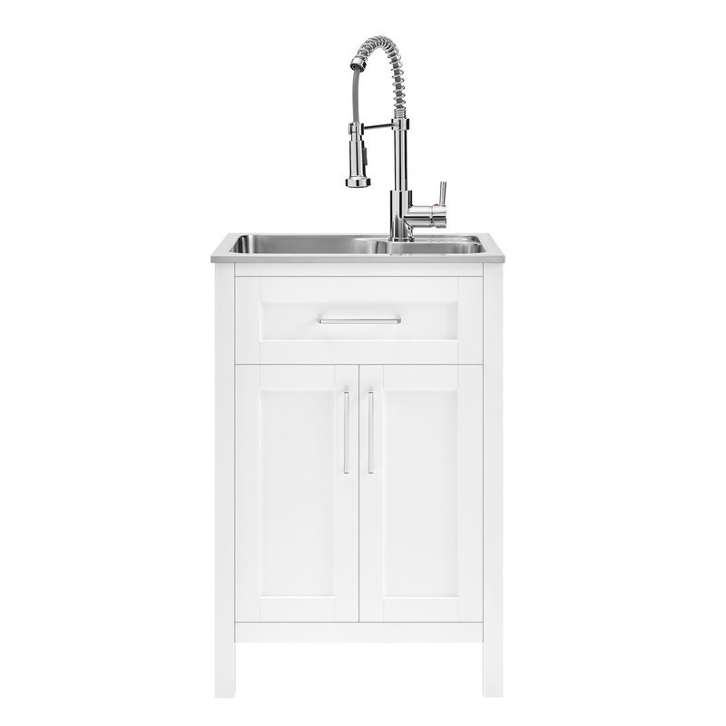 OVE DECORS 15VVAR-PIAR22-007YJ PIARAS 22 INCH CABINET WITH UTILITY SINK AND FAUCET IN WHITE
