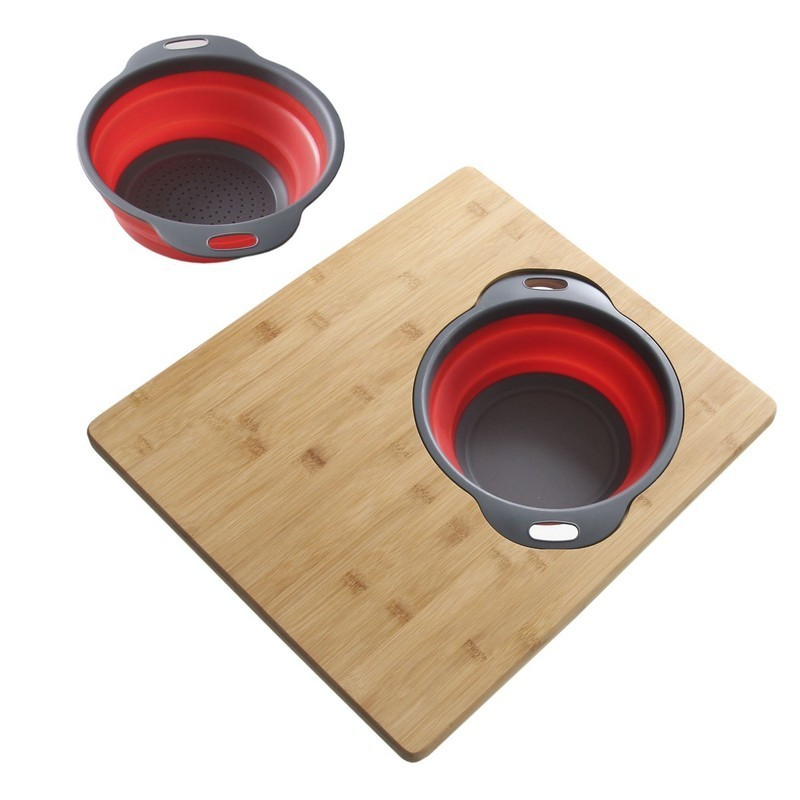 AZUNI A907 18 X 16 INCH BAMBOO OVER THE SINK CUTTING BOARD WITH COLLAPSIBLE BOWL AND COLLANDER