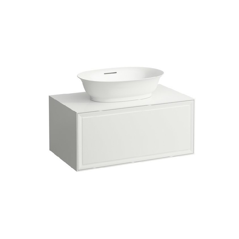 LAUFEN H4060110851 THE NEW CLASSIC 30 1/2 INCH WALL MOUNT ONE DRAWER ELEMENT 800 WITH CENTRE CUT-OUT BOWL WASHBASIN
