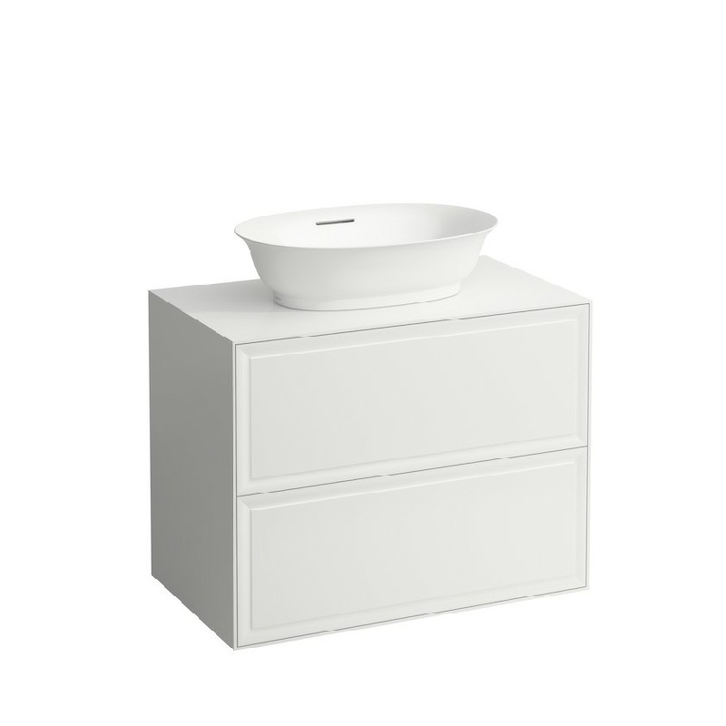 LAUFEN H4060120851 THE NEW CLASSIC 30 1/2 INCH WALL MOUNT TWO DRAWER ELEMENT 800 WITH BOWL WASHBASIN