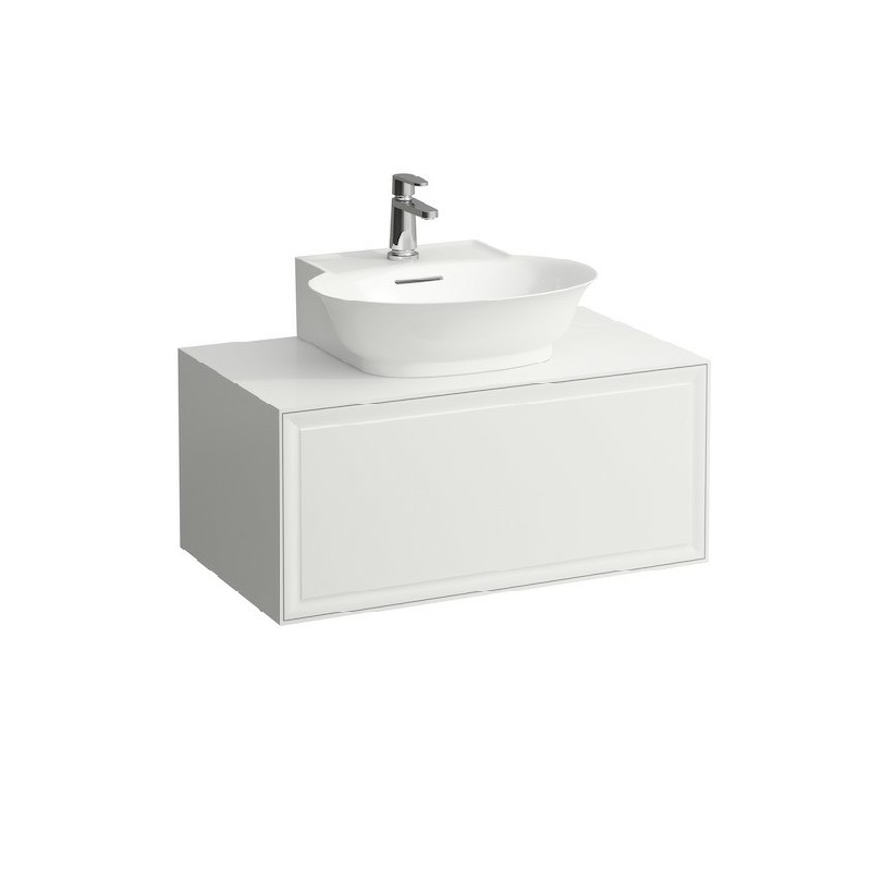 LAUFEN H4060130851 THE NEW CLASSIC 30 1/2 INCH WALL MOUNT ONE DRAWER ELEMENT 800 WITH CENTRE CUT-OUT SMALL WASHBASIN