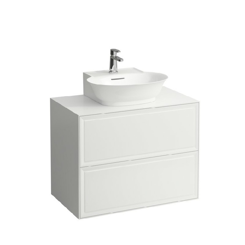 LAUFEN H4060140851 THE NEW CLASSIC 30 1/2 INCH WALL MOUNT TWO DRAWER ELEMENT 800 WITH SMALL WASHBASIN