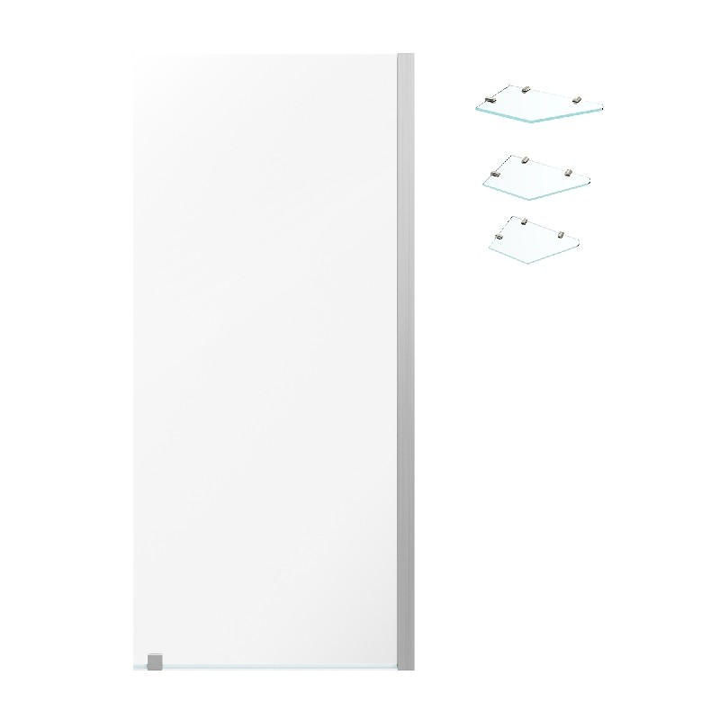 OVE DECORS AU0700301 ENDLESS AUSTIN 34 3/8 INCH ALCOVE FRAMELESS FIXED PANEL SHOWER DOOR WITH SHELVES - SATIN NICKEL