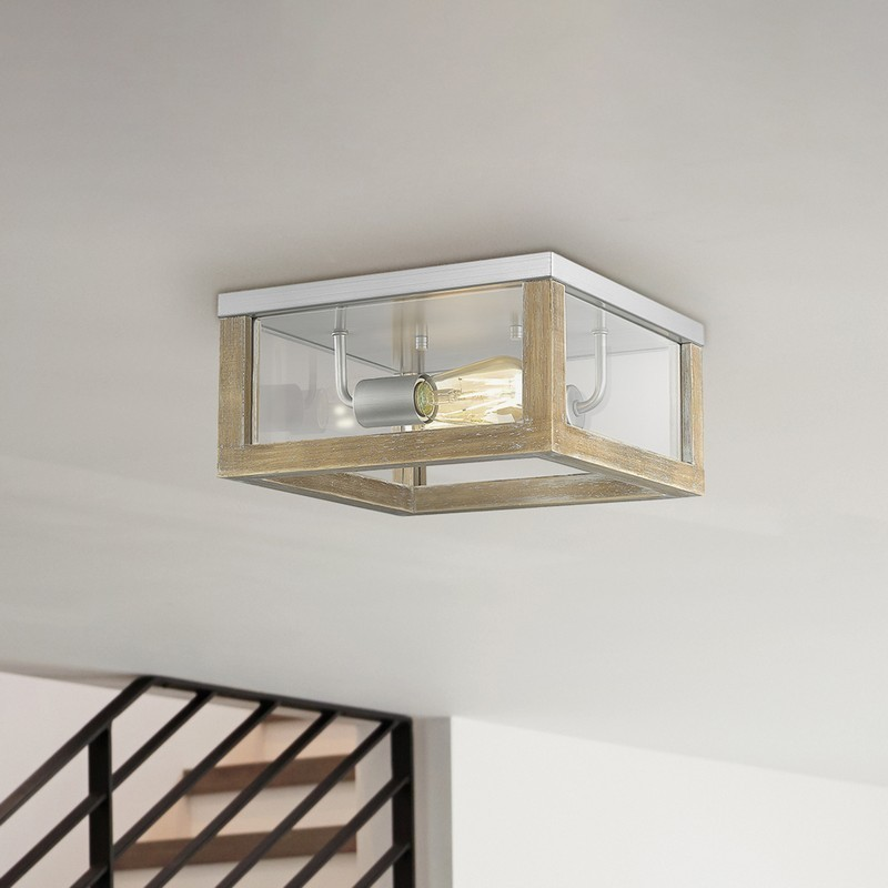 OVE DECORS 15LFMR-LOI912-LNBKY LOIS 2-LIGHT SQUARE FLUSHMOUNT IN DRIFTWOOD AND BRUSHED NICKEL WITH BULBS