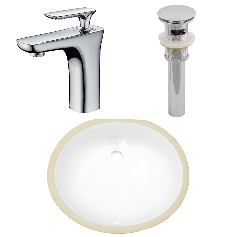 Ruvati Rvb0619 Krona 19 X 16 Inch Undermount White Oval Porcelain Ceramic With Overflow Bathroom Sink