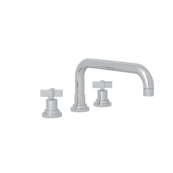 ROHL A2244LM LOMBARDIA THREE HOLE DECK MOUNTED TUB FILLER WITH U SPOUT AND 1/2 INCH NPT CONNECTORS, METAL LEVERS