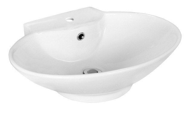 American Imaginations AI-11018 22.75 x 17.25 Inch Above Counter Oval Vessel In White Color For Single Hole Faucet