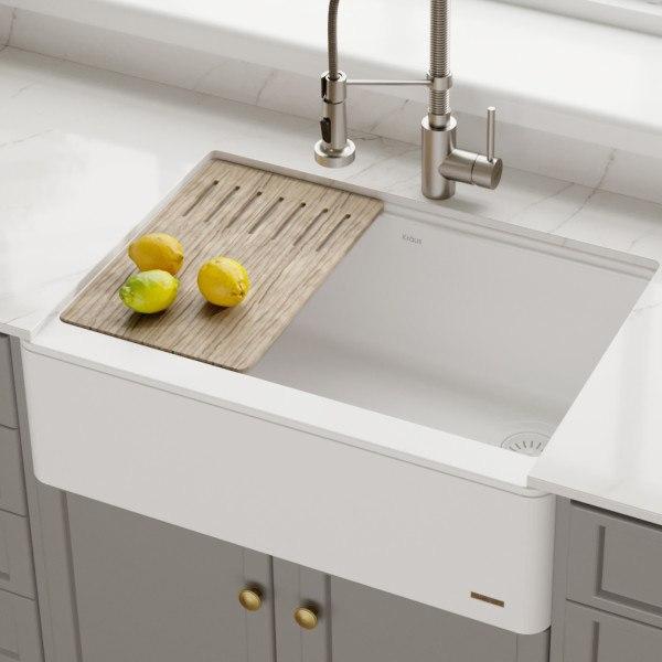 Kraus KGF1-30White Bellucci 30 Inch Quartz Farmhouse Apron Front Kitchen  Sink with CeramTek in White