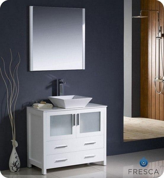 Fvn6236wh Vsl Torino 35 75 Inch White Modern Bathroom Vanity W