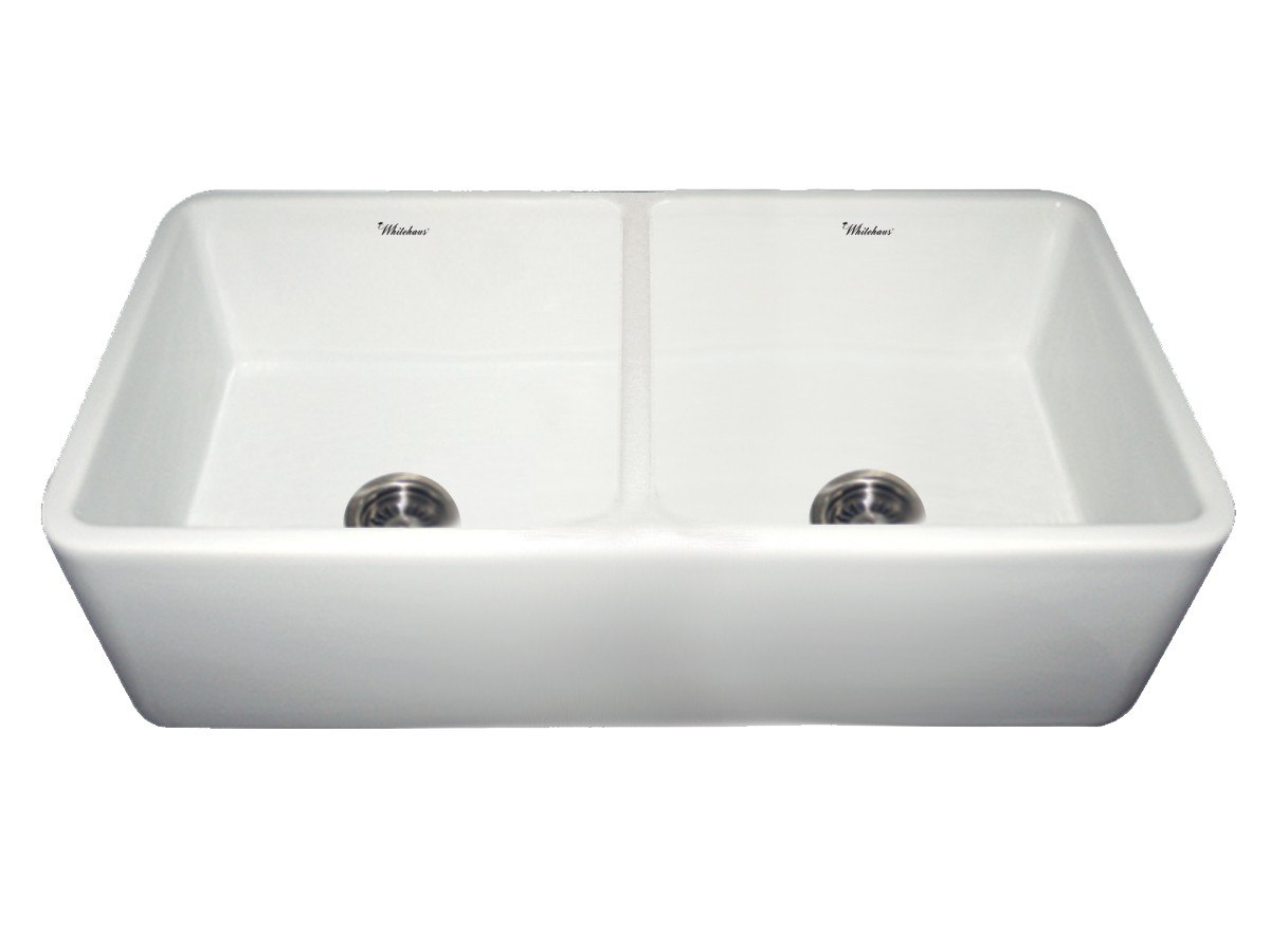WHITEHAUS WH3719 36 3/4 INCH DUET REVERSIBLE DOUBLE BOWL FIRECLAY SINK W/ SMOOTH FRONT APRON