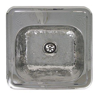 WHITEHAUS WH692ABB 15 INCH SQUARE DROP-IN ENTERTAINMENT/PREP SINK W/ A HAMMERED TEXTURE BOWL & MIRRORED LEDGE