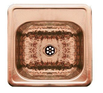 WHITEHAUS WH692CBB 15 INCH SQUARE DROP-IN ENTERTAINMENT/PREP SINK W/ A HAMMERED TEXTURE BOWL & MIRRORED LEDGE