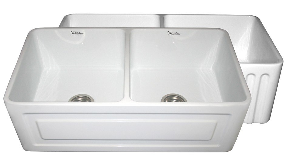 WHITEHAUS WHFLRPL3318 REVERSIBLE SERIES 33 INCH FIRECLAY SINK W/ RAISED PANEL FRONT APRON / FLUTED FRONT APRON