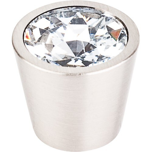 Top Knobs TK136BSN Crystal Clear Crystal Center Knob 3/4 Inch with  Brushed Satin Nickel Shell