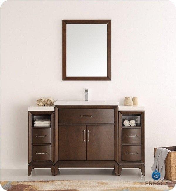 fresca fvn21 123012ac cambridge 54 inch antique coffee traditional bathroom vanity with mirror. Black Bedroom Furniture Sets. Home Design Ideas