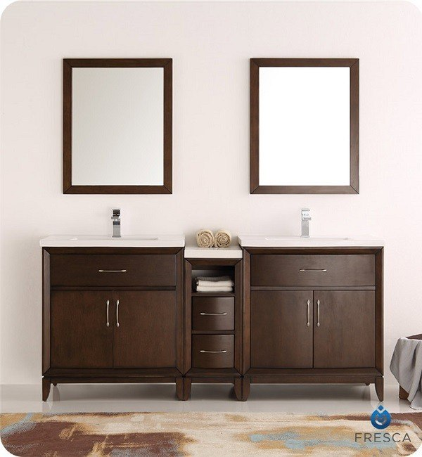 Superb Fresca Fvn21 301230Ac Cambridge 72 Inch Antique Coffee Double Sink Traditional Bathroom Vanity With Mirrors Complete Home Design Collection Epsylindsey Bellcom