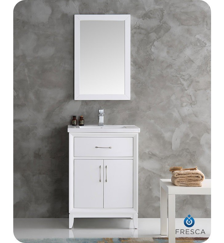Fresca Fvn2124wh Cambridge 24 Inch White Traditional Bathroom Vanity