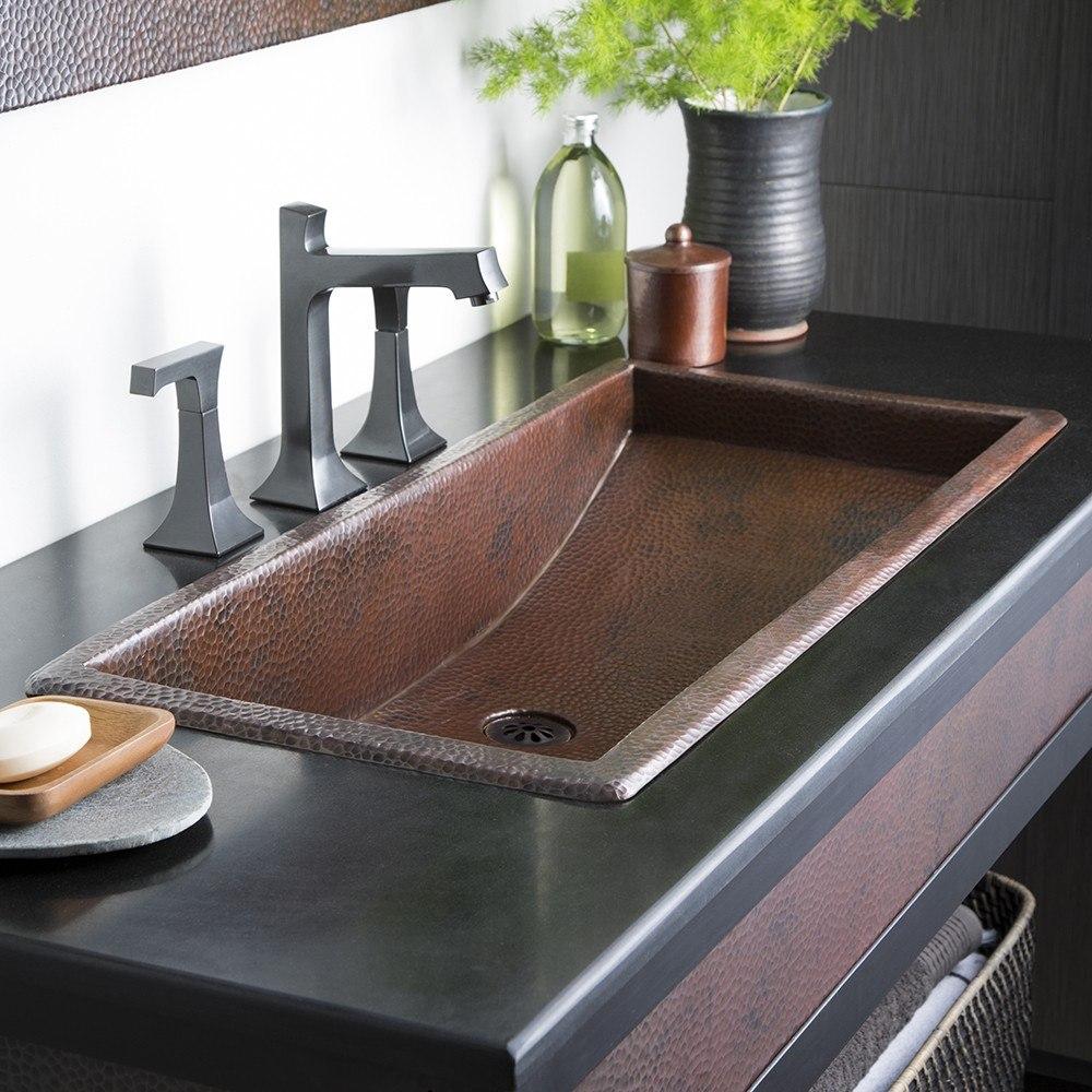 Native Trails CPS00 Trough 30 Inch Single Basin Universal Mount Rectangular Copper Bathroom Sink
