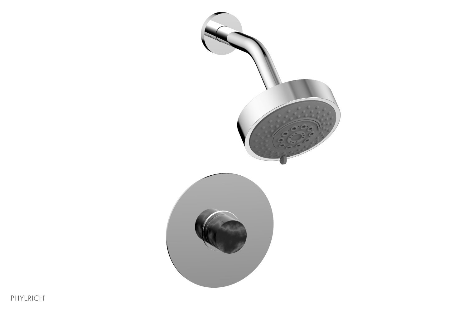 PHYLRICH 230-23-032 BASIC II WALL MOUNT PRESSURE BALANCE SHOWER SET WITH SOAP STONE KNOB HANDLE