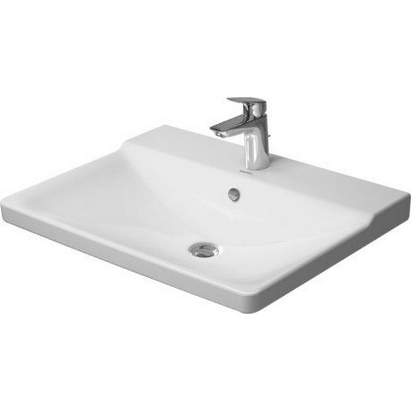 DURAVIT 233265 P3 COMFORTS 25-5/8 X 19-5/8 INCH FURNITURE WASHBASIN WITH OVERFLOW AND TAP PLATFORM IN WHITE
