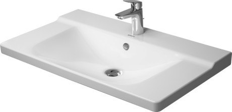 Duravit 233285 P3 Comforts 33-1/2 x 19-5/8 Inch Furniture Washbasin with Overflow and Tap Platform in White