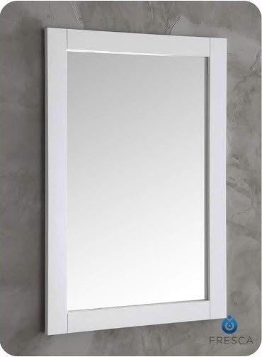 FRESCA FMR2302WH HARTFORD 20 INCH WHITE TRADITIONAL BATHROOM MIRROR
