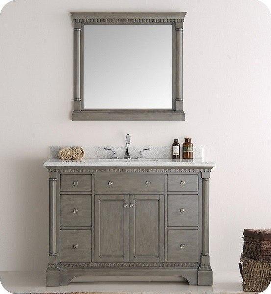Fresca Fvn2248sa Kingston 48 Inch Antique Silver Traditional Bathroom Vanity With Mirror Fresca