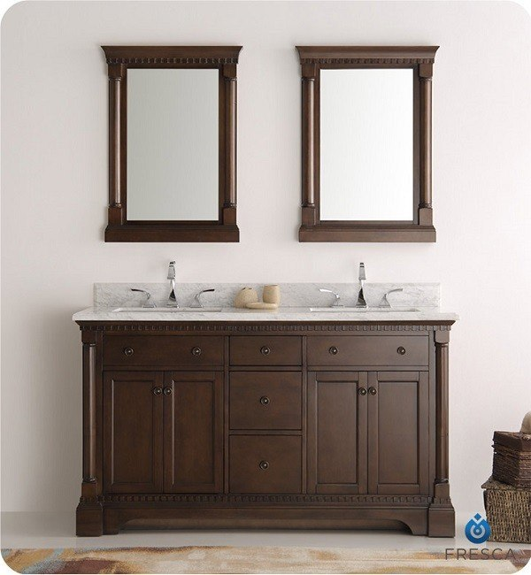 FRESCA FVN2260AC KINGSTON 60 INCH ANTIQUE COFFEE DOUBLE SINK TRADITIONAL BATHROOM VANITY WITH MIRRORS