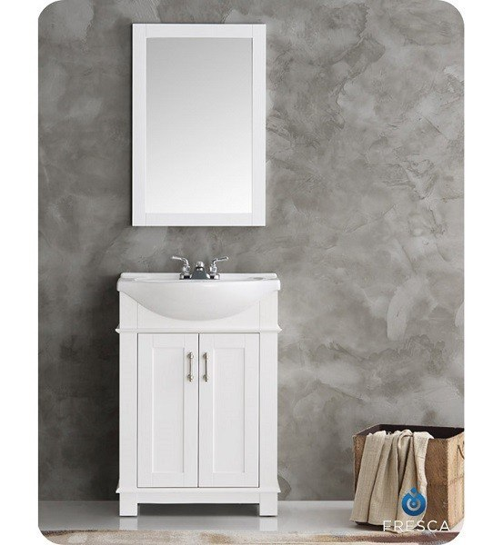 FRESCA FVN2302WH-CMB HARTFORD 24 INCH WHITE TRADITIONAL BATHROOM VANITY