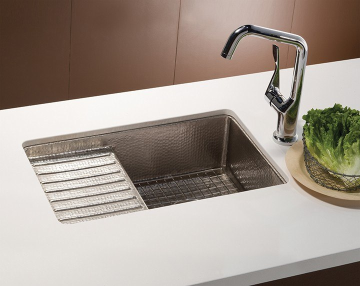 Native Trails CPS33 Cantina Pro 24 Inch Hand Hammered Undermount Square Copper Kitchen Sink with Drainboard