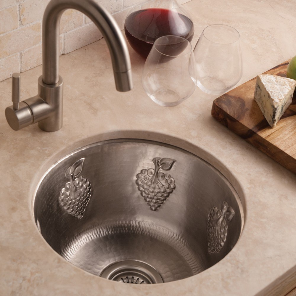 Native Trails CPS61 Grapes 15 Inch Hand Hammered Round Universal Mount  Copper Bar Sink