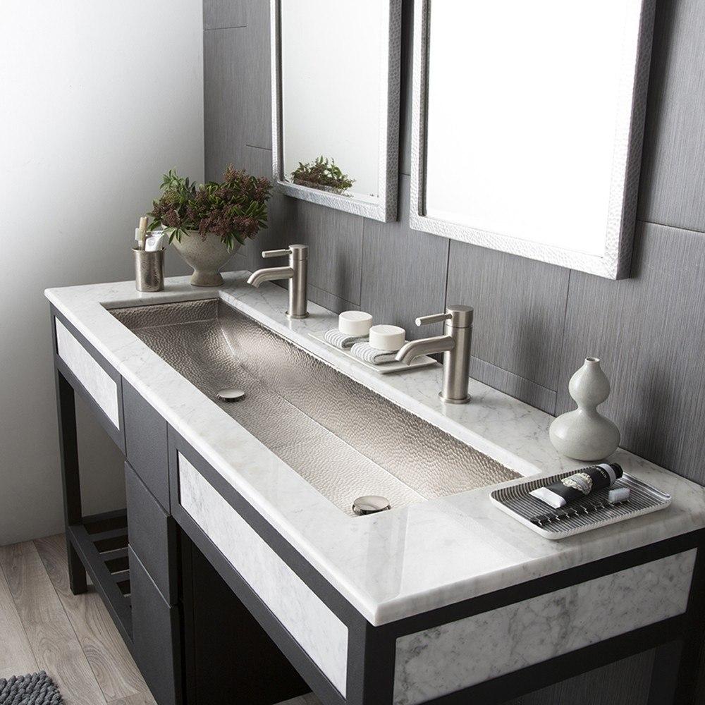 Native Trails CPS08 Trough 48 Inch Single Basin Universal Mount Rectangular Copper Bathroom Sink