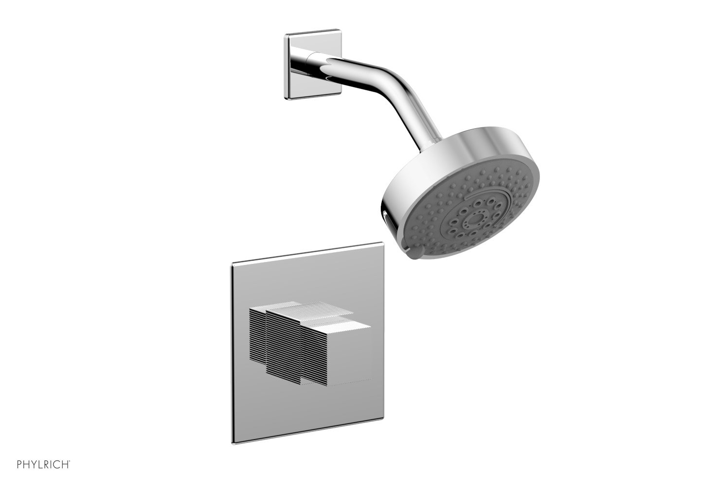 PHYLRICH 291-24 STRIA WALL MOUNT PRESSURE BALANCE SHOWER SET WITH CUBE HANDLE
