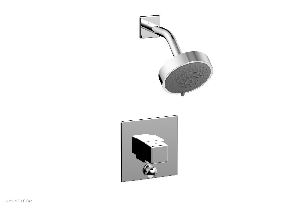 PHYLRICH 4-145 MIX WALL MOUNT PRESSURE BALANCE SHOWER AND DIVERTER SET WITH CUBE HANDLE