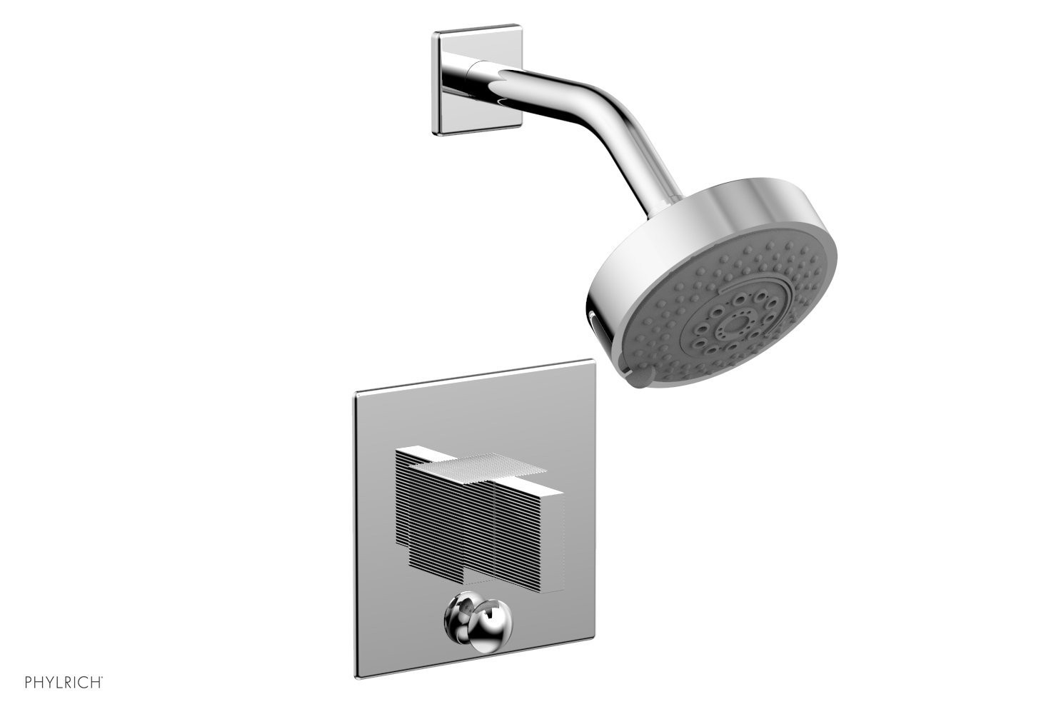 PHYLRICH 4-146 STRIA WALL MOUNT PRESSURE BALANCE SHOWER AND DIVERTER SET WITH BLADE HANDLE