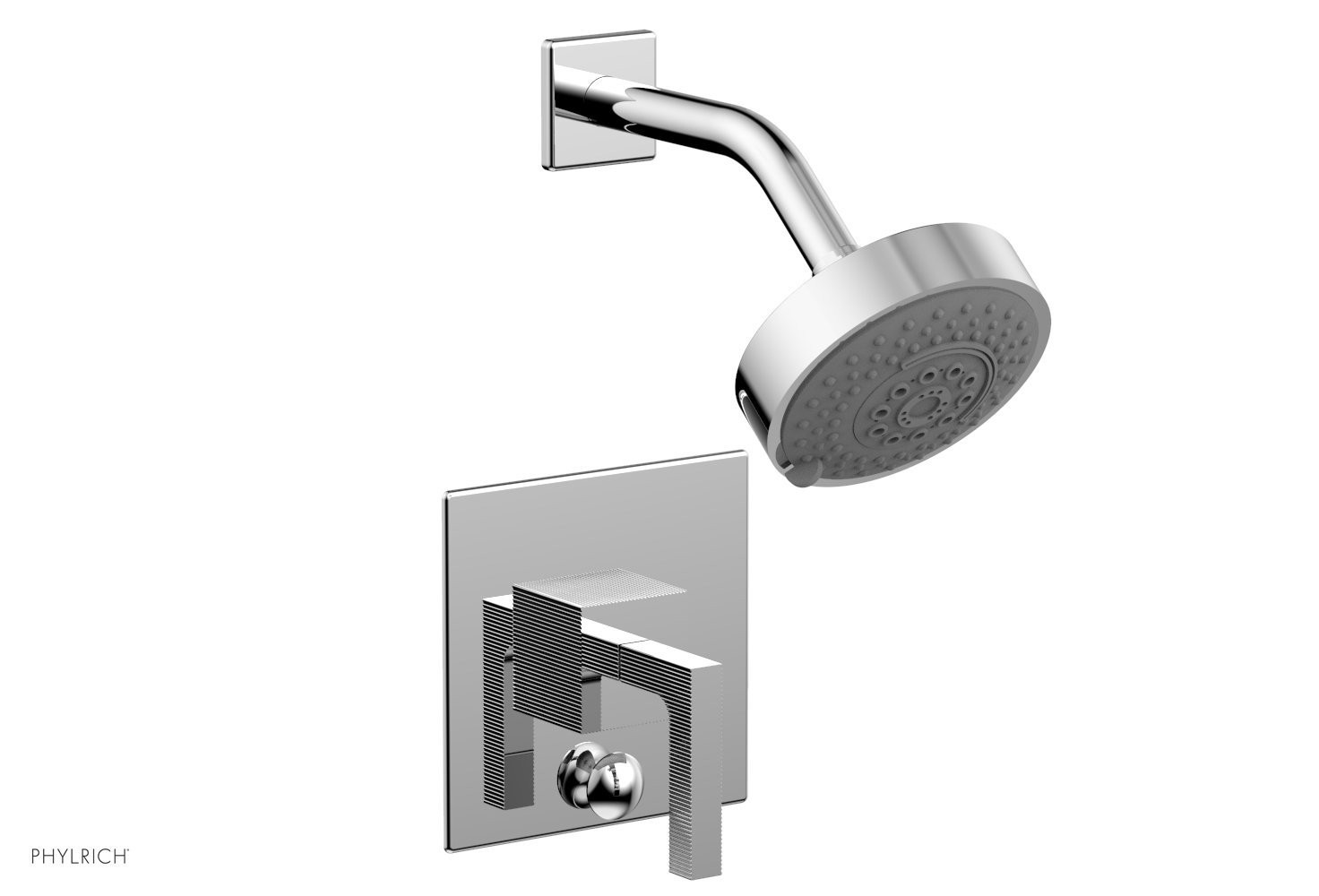 PHYLRICH 4-147 STRIA WALL MOUNT PRESSURE BALANCE SHOWER AND DIVERTER SET WITH LEVER HANDLE
