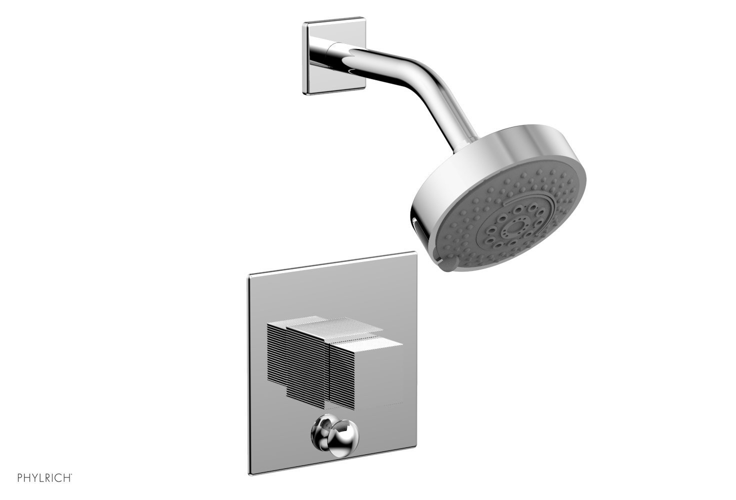 PHYLRICH 4-148 STRIA WALL MOUNT PRESSURE BALANCE SHOWER AND DIVERTER SET WITH CUBE HANDLE