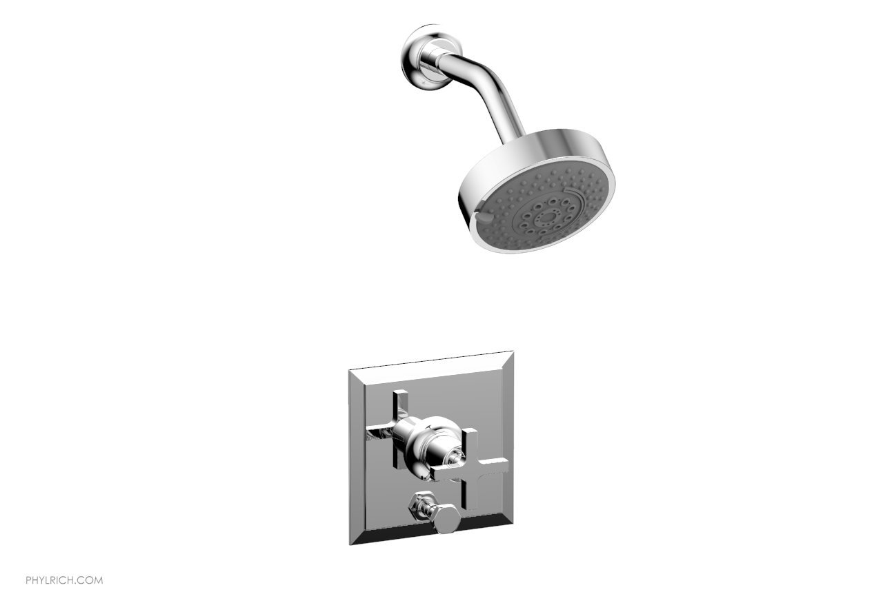 PHYLRICH 4-153 HEX MODERN WALL MOUNT PRESSURE BALANCE SHOWER AND DIVERTER SET WITH CROSS HANDLE