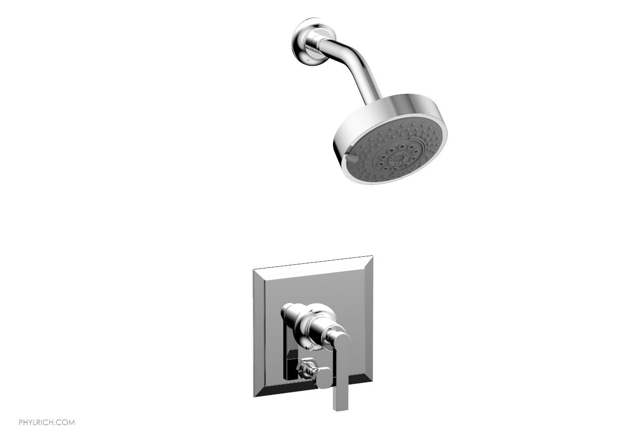 PHYLRICH 4-154 HEX MODERN WALL MOUNT PRESSURE BALANCE SHOWER AND DIVERTER SET WITH LEVER HANDLE