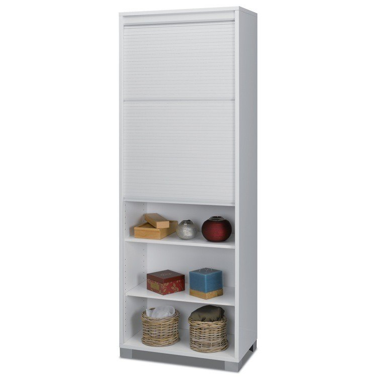 Sarmog 7054 Quadrante Contemporary White Wood High Cabinet with Rolling Shutter