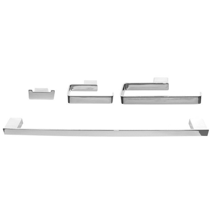 GEDY LG1100 LOUNGE WALL MOUNTED 4-PIECE SQUARE BATHROOM ACCESSORY SET IN CHROME