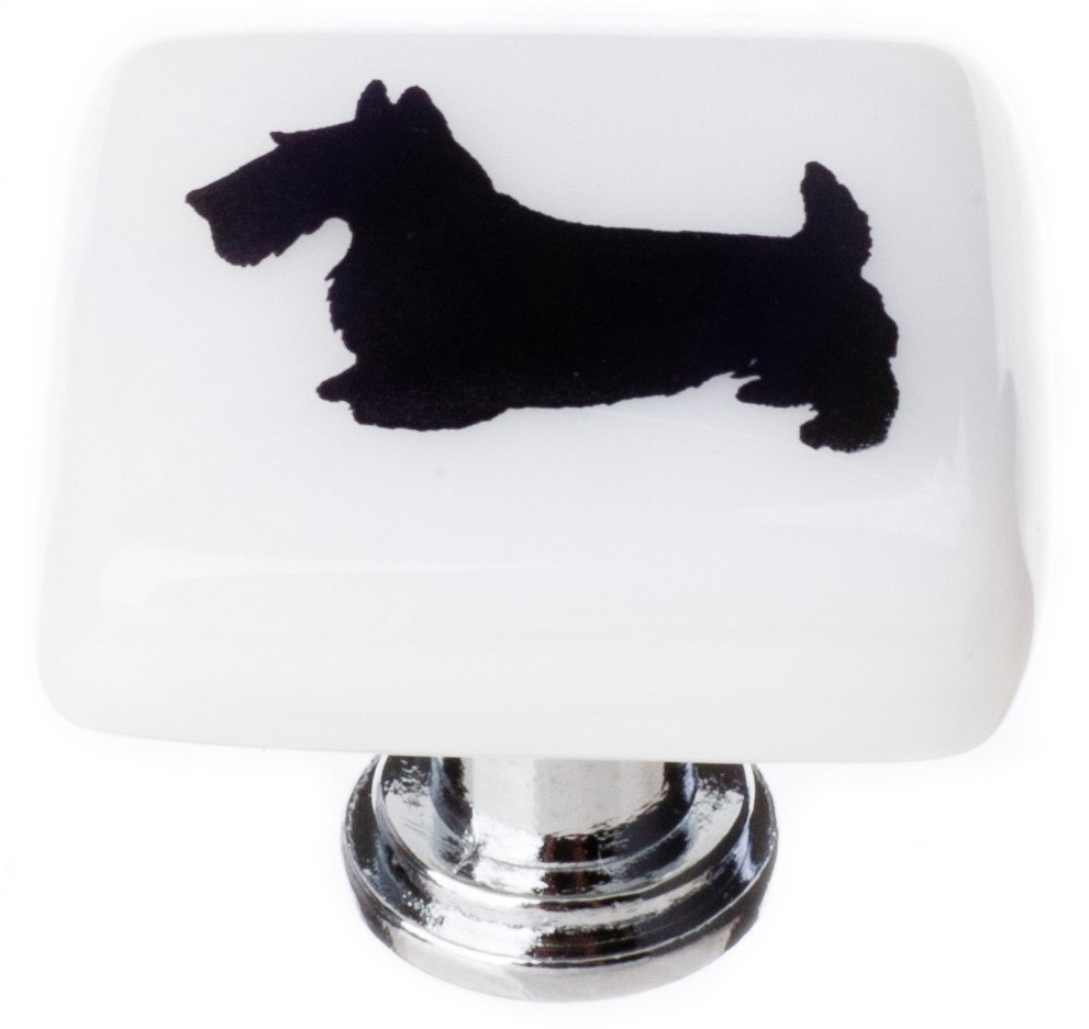 Sietto K-1147 New Vintage Scottie Dog Print 1-1/4 Inch Square Cabinet Knob
