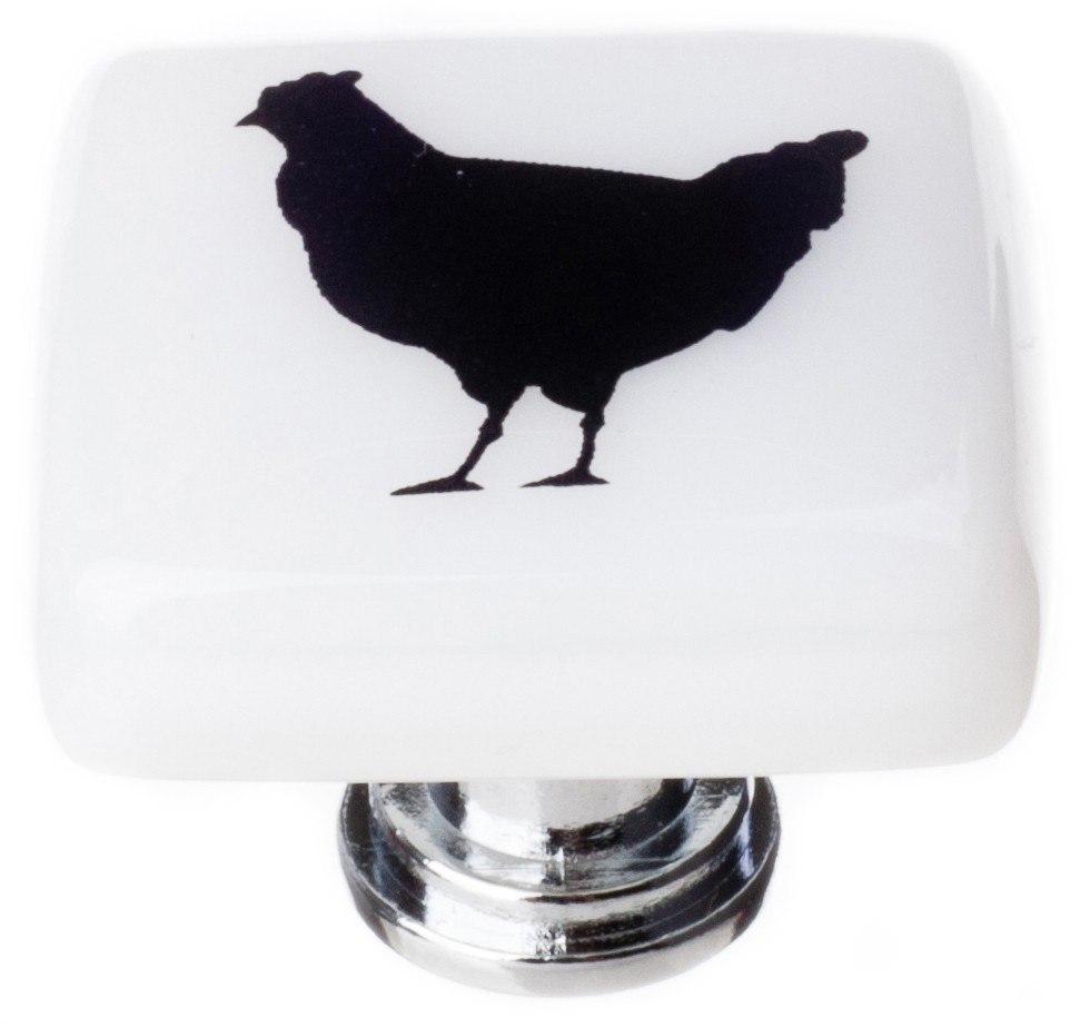 Sietto K-1148 New Vintage Chicken Print 1-1/4 Inch Square Cabinet Knob