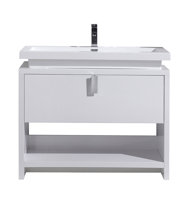 Moreno Bath L1000GW MOL 40 Inch High Gloss White Free Standing Modern Bathroom Vanity With Cubby Hole