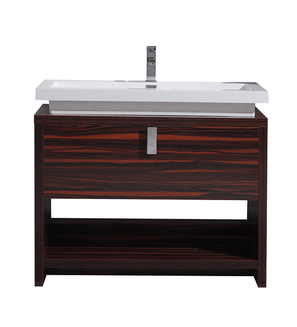 Moreno Bath L1000RS MOL 40 Inch High Gloss Rose Walnut Free Standing Modern Bathroom Vanity With Cubby Hole