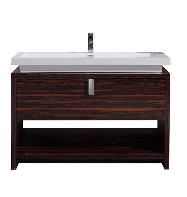 Moreno Bath L1200RS MOL 48 Inch High Gloss Rose Walnut Free Standing Modern Bathroom Vanity With Cubby Hole