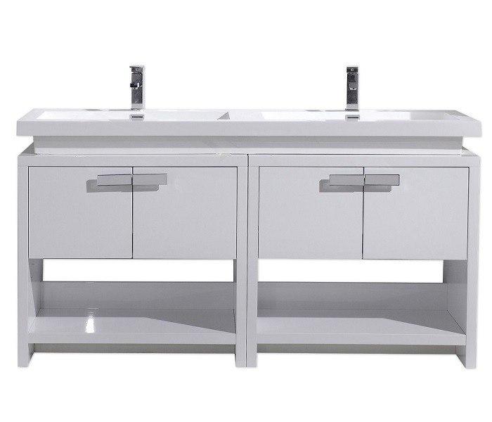 Moreno Bath L1600GW MOL 63 Inch High Gloss White Free Standing Modern Bathroom Vanity With Cubby Hole