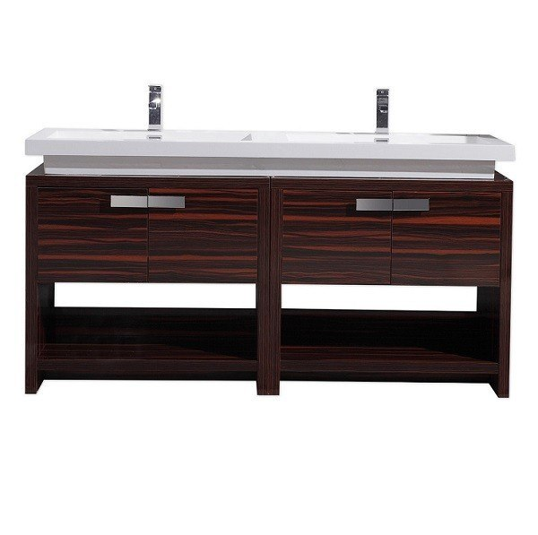 Moreno Bath L1600RS MOL 63 Inch High Gloss Rose Walnut Free Standing Modern Bathroom Vanity With Cubby Hole