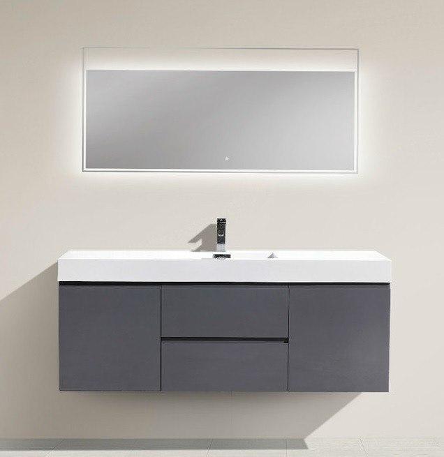 Moreno Bath Mof60s Gr Mof 60 Inch High Gloss Grey Wall Mounted Modern Bathroom Vanity